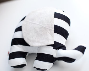 Gender Neutral Baby Gift ~ Black and White Stripe ~ Baby Shower Gift ~ Large Elephant ~ Baby Pillow ~ Cushion ~ Nursery Decoration