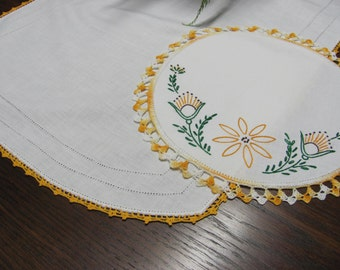 Vintage White Cotton Table Runner and Embroidered Doily Linen With Gold Trim 2 Pieces
