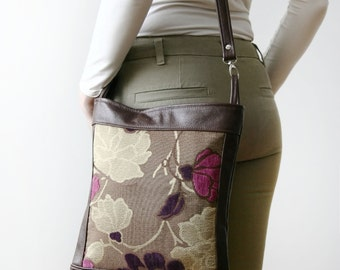 Genuine Leather And Fabric Mix Messenger Bag