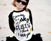 Cause in s aky full of stars I think I see you shirt- screen print wing tshirt with glitter stars