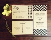 Tribal Chevron Kraft Paper Rack Card Wedding Invitation Suite