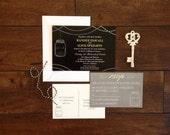 Mason Jar Fireflies Rustic Wedding Invitation Suite