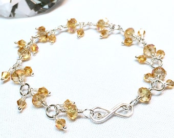 Wire Wrapped Topaz Crystal Charm Beaded Bracelet in Sterling Silver