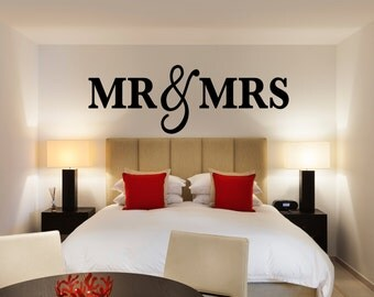 Mr & Mrs Wall Sign for Bedroom Decor - Mr and Mrs Sign for Over Bed - Home Decor Bedroom Christmas Gift (Item - MMW100)