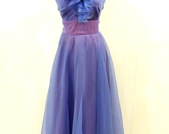 vintage ruffle-neck evening gown - 1970s Celyce Designs periwinkle formal chiffon dress