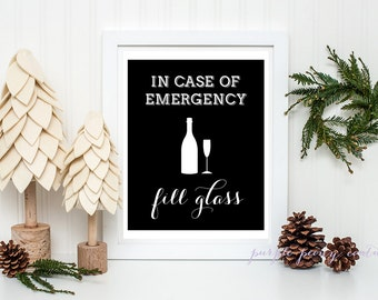 Typographic Art Print Black and White Champagne Digital Sign INSTANT DOWNLOAD Poster PDF