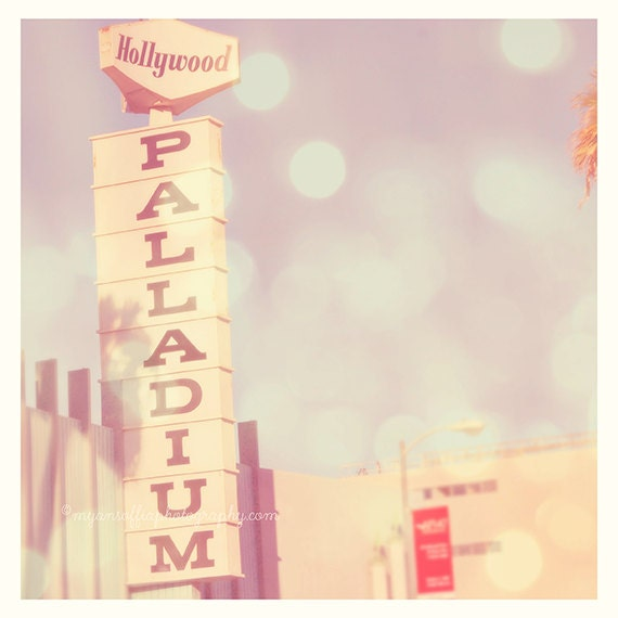 Hollywood Palladium photograph, LA photo, Art Deco architecture, Sunset Blvd, Los Angeles nightlife, music gift, rock stars California, blue