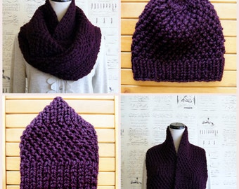 Hand Knit Chunky Infinity Scarf with matching knit beanie hat, Purple Violet Aubergine Eggplant, Ready to Ship