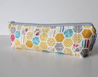 pencil pouch -- hexagon honeycombs