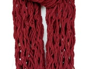 Extra Long Mega Chunky Arm Knit Chenille Infinity Scarf Cowl Burgundy Maroon