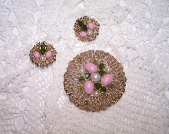 Vintage Demi Parure Jewelry Set Earrings & Brooch Matching Sara Coventry Flower Rhinestones Pin Cocktail Filigree
