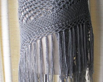 Silver Grey Hand Knit SHAWL Triangle Scarf SOFT Acrylic with FRINGES / Bridal Shawl