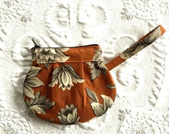 Zipper Pouch - Clutch - Bag - Reproduction Burnt Orange Print - Made to Order - Purse Organizer - Coin Purse - Zipper Change Purse
