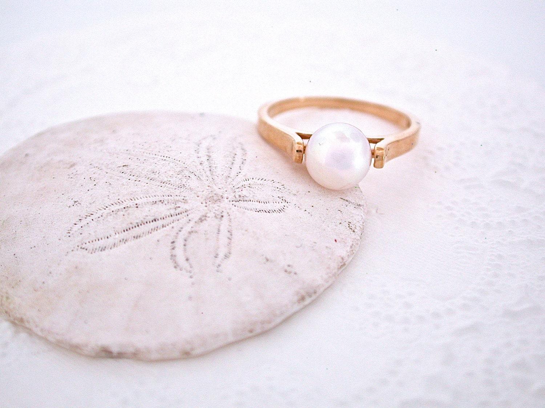 pearl ring simple pearl ring akoya pearl 7 mm pearl
