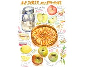 Apple tart illustrated recipe poster, 11X14 print, Kitchen art, Food illustration, Bakery poster, Cake painting, Watercolor apple pie, 12X16