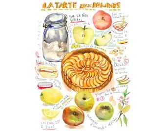 Apple tart illustrated recipe poster, 11X14 print, Kitchen art, Food illustration, Bakery poster, Cake painting, Watercolor apple pie, 12X16