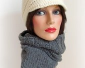 Cashmere Cowl - Handmade Knitted Cowl - Original Look Snood - Women Men Knitted Neck Warmer - Winter Fashion - Grey Men Cowl