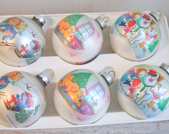Bobbs Merril Vintage Christmas Ornament, Corning Ornament, Pluto, Huey Duey and Luey, Raggedy Ann, Christmas Balls, Walt Dinsey, USA