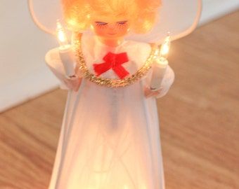 Vintage Angel Tree Topper, Christmas Choir Angel, Light Up Tree Angel, Choral Angel, White, Blonde Angel, Red Bow, Christmas Decoration