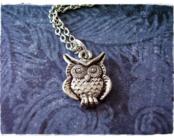 Tiny Silver Owl Necklace - Antique Pewter Owl Charm on a Delicate Silver Plated Cable Chain or Charm Only