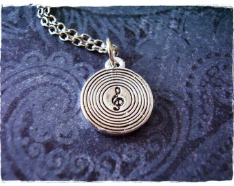 Silver Vinyl Record Necklace - Silver Vinyl Record Charm on a Delicate Silver Plated Cable Chain or Charm Only