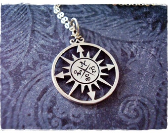 Silver Compass Rose Necklace - Sterling Silver Compass Rose Charm on a Delicate Sterling Silver Cable Chain or Charm Only
