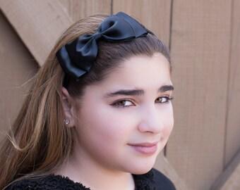 Black Bow Headband, Big Black Satin Bow, Teen Hair Accessories, Girls Hair Accessories, Adult Hair Accessories, Flower Girl Headband