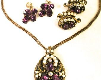 Vintage Art Nouveau 1960s Coro Necklace 2 Pairs Earrings Demi Parure Set Purple Faux Pearl Rhinestones