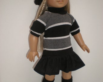 BLACK RUFFLED SKIRT 18 inch doll clothes