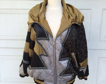 80s Metallic Oversize Batwing Ski Jacket Color Block Avant Garde Womens Medium Large Black Silver Gold Neiman Marcus