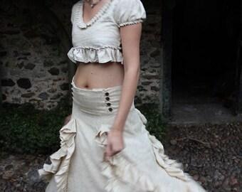 Flecked Cocoon Organic Cotton Gypsy Renaissance Ruffle Skirt