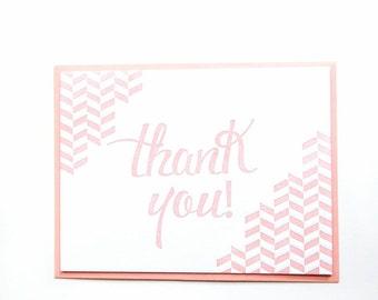 Anytime   Chevron Thank You Letterpress Card - Set of 6