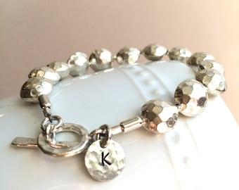 Personalized Hammered Silver Bracelet--Initial Bracelet
