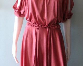 Vintage Boho 1970s Mauve Grecian Maxi Dress