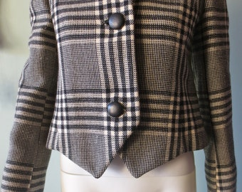 Plaid Jacket Classic Mod Vintage 1960s Black and White Couture Int'l Wool Coat