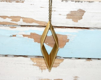 Large Rhombus Three Dimensional Pendant ,Vintage Cut Brass ,Geometric Modern Necklace, Diamond Shaped