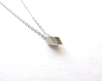 Tiny Rhombus Necklace, Minimalist Necklace, Delicate Necklace, Small Geometric Necklace Silver