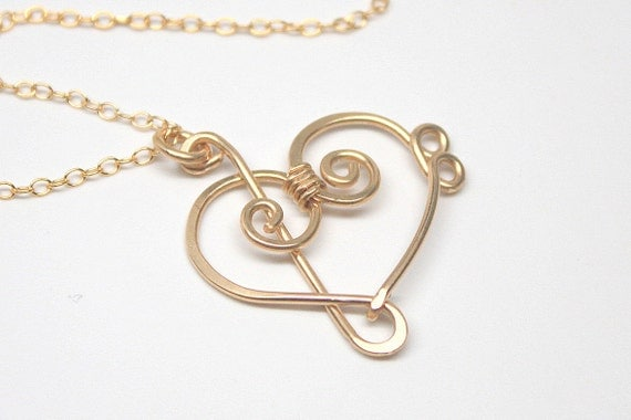 Treble Clef and Bass Clef Heart Pendant Necklace, Sterling Silver or Yellow or Rose Gold Filled