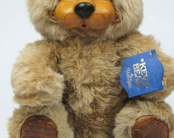 Robert Raikes Collectible Wooden Bear Kevi Signed Limited Edition with Hang Tag and Bear Songs Collectible Bear