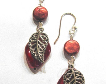 Red Filigree Leaves Earrings