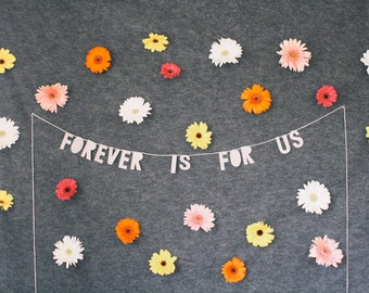 paper party banner, FOREVER is FOR US - handmade, wall hanging, bedroom decor, house decor, interior decor, home decor, word banner, gifts