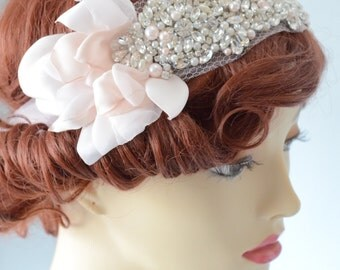 JULY SALE One of a Kind Blush petal headband,1920s Petal Tulle Bandeau Headpiece,Flower petal Bandeau headpiece,Pearl and rhinestones