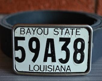 Louisiana License Plate Belt Buckle