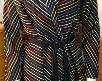 Striped Jacket Maxan 1940s 1950s Taffeta Chevron Striped Jacket Robe Mid Century Rockabilly Mad Men I Love Lucy Holidays Maternity Small