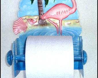 Tropical Bathroom Decor - Tropical Decor, Painted Metal Flamingo Toilet Paper Holder -  Toilet Tissue Holder -Bathroom Accessories - 261