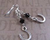 Horseshoe Earrings with Black Crystals, Nickel Free, Hypoallergenic, Equestrian, Horse, Equine, Pet, Jewelry