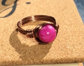 size 7.75 , 7 3/4 - Purple Crazy Agate Ring - 8mm gemstone wire wrapped antique copper pink stone women men handmade jewelry metaphysical
