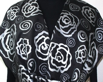 Hand Painted Silk Scarf. Black Silver Silk Scarf SILVER ROSES. Large 14x72. Mother Gift. Birthday Gift. Bridesmaid Gift. Free Gift-Wrapping