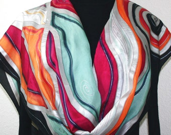 Silk Scarf. Hand Painted Silk Scarf. Orange Raspberry Black Silk Scarf, ORANGE BERRY SUNDAE, Large 14x72, Gift-Wrapped. Anniversary Gift.