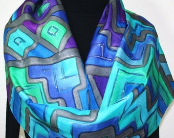 Silk Scarf Hand Painted Silk Shawl Turquoise Blue Purple Hand Dyed Silk Scarf ANDEAN LEGENDS Large 14x72 Birthday Gift Scarf Gift-Wrapped